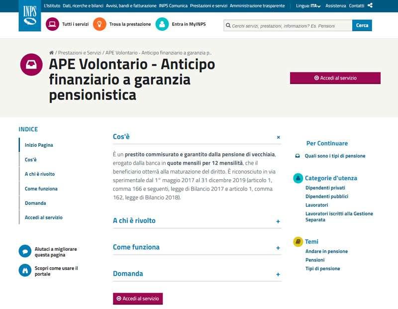 Anticipo finanziario a garanzia pensionistica