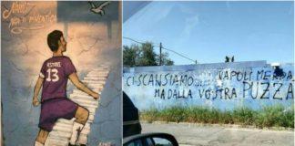 firenze e napoli, scritte su muri, fiorentina-napoli, questione di intelligenza., questione di civiltà, questione di cuore