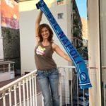 Julija Mayarchuk tifosa del Napoli esulta per la vittoria con la Juve