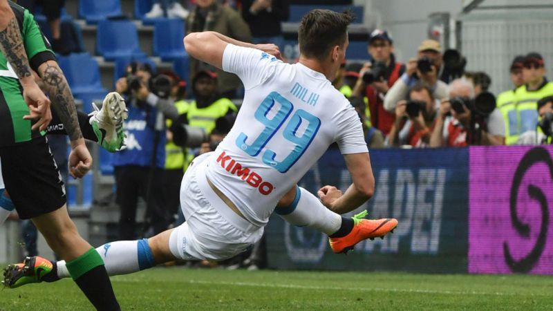 milik, sassuolo napoli, calcio napoli