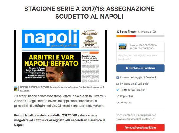 Scudetto Juve irregolare. La nostra petizione per assegnare il titolo al Napoli