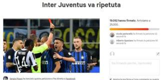 Inter-Juve da ripetere, pisani, petizione