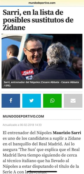 Zidane lascia il Real Madrid, Florentino Perez chiama Sarri