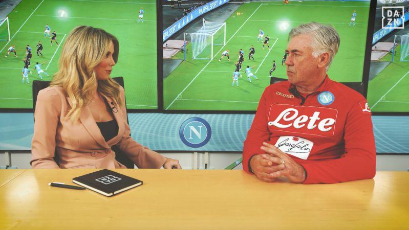 Carlo Ancelotti e Diletta Leotta. la promessa ai tifosi azzurri nell'intervista