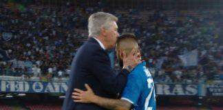 Il bacio di Carlo Ancelotti a Lorenzo Insigne dopo il match contro la Fiorentina
