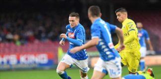 Napoli - Chievo: due punti pesanti persi. Piotr Zielinski in azione contro il Chievo: il polacco non è in un momento di grande forma (sscnapoli)