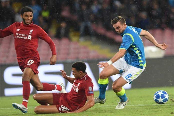 Lo spagnolo Fabian Ruiz, protagonista di una bella prestazione nella gara di andata al San Paolo contro i Reds