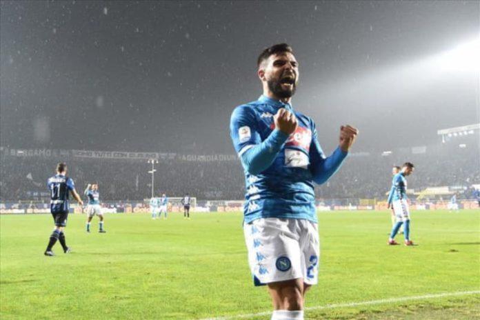 Cori contro il Napoli - Lorenzo Insigne esulta al termine di Atalanta-Napoli