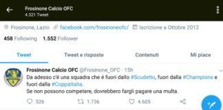 Lo sfooto del Frosinone al Napoli: Se non possono competere...