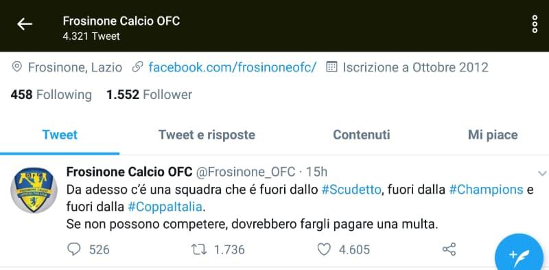 """Coppa Italia: """"Se non possono competere, dovrebbero fargli pagare una multa"""", lo sfottò del Frosinone verso il Napoli e Adl"""