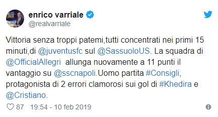 Enrico Varriale: Consigli uomo partita in Sassuolo-Juventus… con due errori clamorosi!