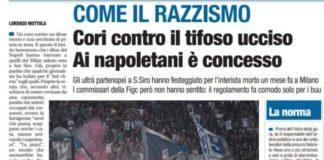 L'articolo di Libero che attacca gli ultrà napoletani