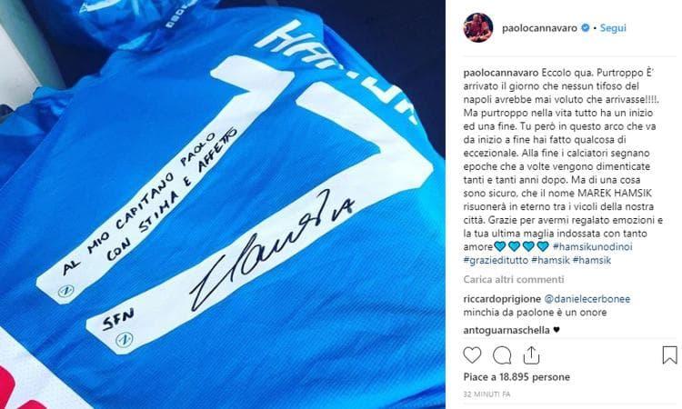 Hamsik ha regalato la sua aultima al suo capitano: Paolo Cannavaro