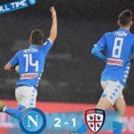 Napoli Cagliari vittoria in extremis per 2-1 e secondo posto aritmetico