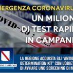 Regione Campania, screening di massa: 1 milione di test rapidi per la diagnosi del Covid-19