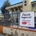 Caivano, uno striscione di ringraziamento ai carabinieri