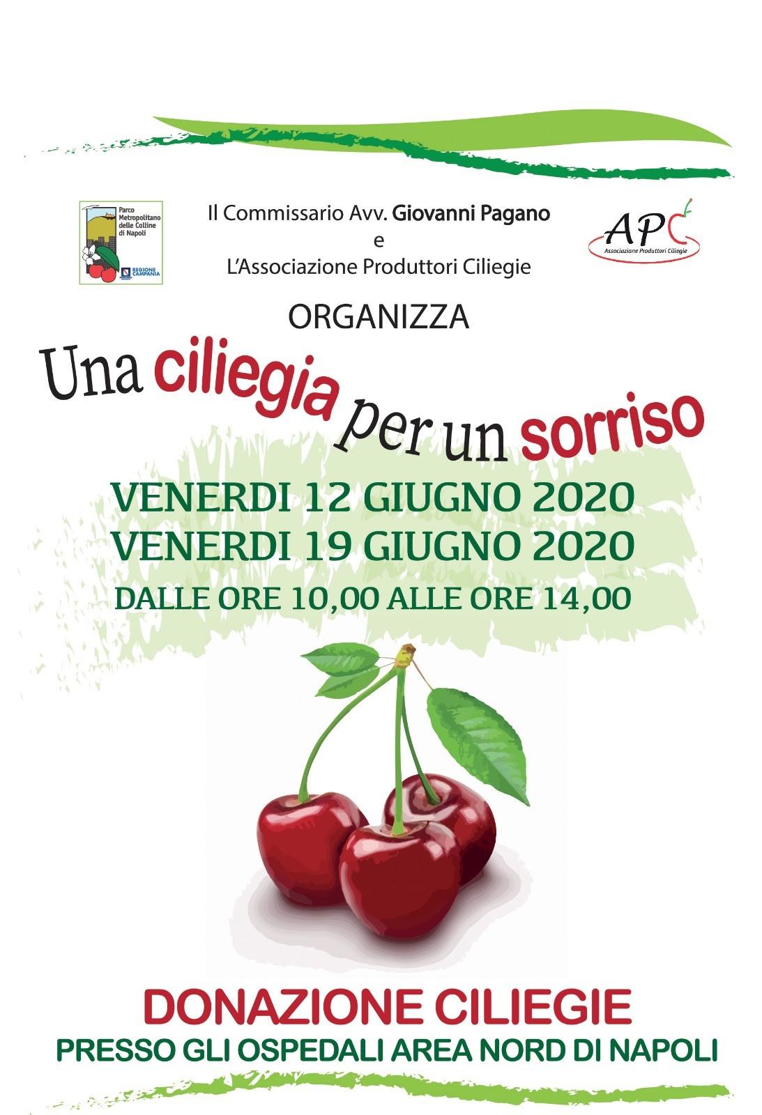 """Il 12 ed il 19 giugno """"Una ciliegia per un sorriso"""" , una nuova iniziativa del Parco Metropolitano delle Colline di Napoli"""""""
