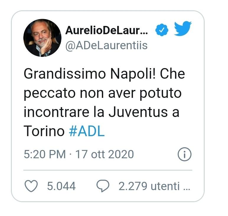 """De Laurentiis al veleno: """"Peccato non aver potuto giocare contro la Juve"""""""