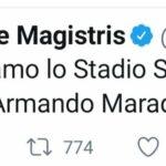 "Morte Maradona, de Magistris: ""Intitoliamo a lui lo Stadio San Paolo"""